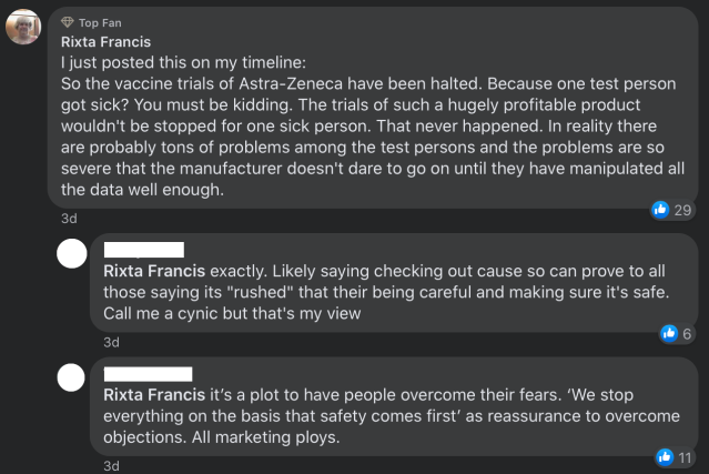 Facebook: Rixta Francis misleads over Oxford COVID vaccine trial